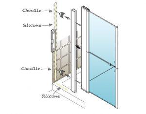 Installation d'une porte de douche