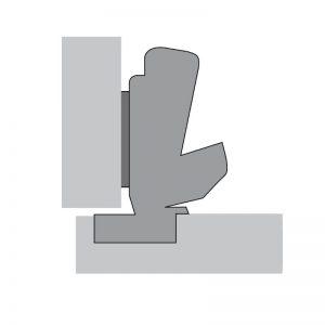 Charnière angle 165° d'ouverture – 90° entre porte et caisson