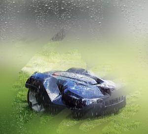 tondeuse robot sous la pluie