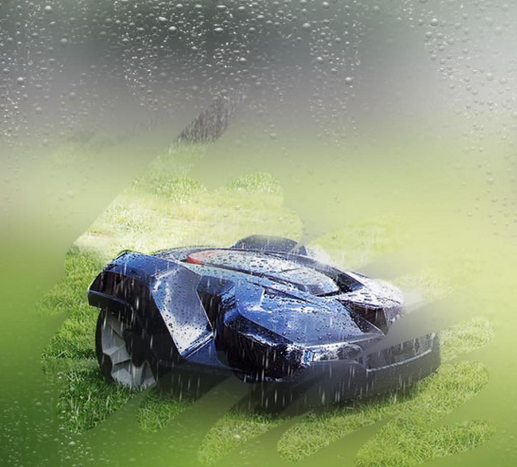 Tondeuse robot : tonte sous la pluie