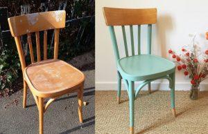 Avant après rénovation chaise en bois